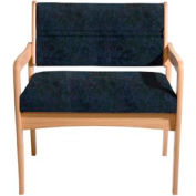 Bariatric Standard Leg Chair - Light Oak/Blue Water Pattern Fabric