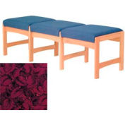 Three Person Bench - Light Oak/Burgundy Leaf Pattern Fabric