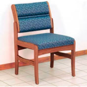 Guest Chair w/o Arms - Medium Oak/Blue Leaf Pattern Fabric