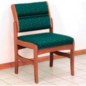 Guest Chair w/o Arms - Medium Oak/Green Leaf Pattern Fabric