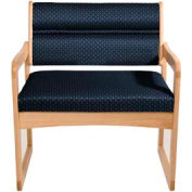 Bariatric Sled Base Chair - Light Oak/Blue Arch Pattern Fabric