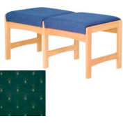 Two Person Bench - Light Oak/Green Arch Pattern Fabric