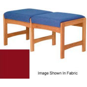 Two Person Bench - Medium Oak/Burgundy Vinyl