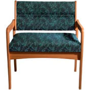 Bariatric Standard Leg Chair - Medium Oak/Green Leaf Pattern Fabric