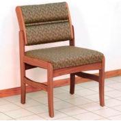 Guest Chair w/o Arms - Medium Oak/Taupe Leaf Pattern Fabric