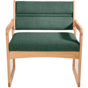 Bariatric Sled Base Chair - Light Oak/Green Fabric