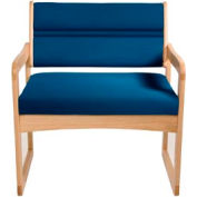 Bariatric Sled Base Chair - Light Oak/Blue Vinyl