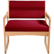 Bariatric Sled Base Chair - Light Oak/Burgundy Vinyl