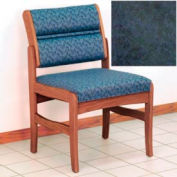 Guest Chair w/o Arms - Medium Oak/Blue Water Pattern Fabric