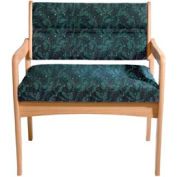 Bariatric Standard Leg Chair - Light Oak/Green Leaf Pattern Fabric