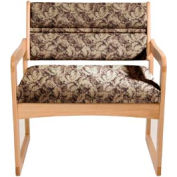 Bariatric Sled Base Chair - Light Oak/Taupe Leaf Pattern Fabric