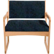 Bariatric Sled Base Chair - Light Oak/Blue Water Pattern Fabric