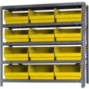 """Quantum 1239-209 Steel Shelving With 12 6""""H Shelf Bins Yellow, 36x12x39-5 Shelves"""