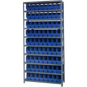 "Quantum 1875-203 Steel Shelving With 72 6""H Shelf Bins Blue, 36x18x75-10 Shelves"
