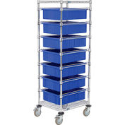 """21X24X69 Chrome Wire Cart With 7 6""""H Grid Containers Blue"""