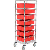 """21X24X69 Chrome Wire Cart With 7 6""""H Grid Containers Red"""