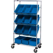 "Easy Access Slant Shelf Chrome Wire Cart With 12 3-1/2""H Grid Containers Blue, 36""L x 18""W x 63""H"