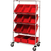 "Easy Access Slant Shelf Chrome Wire Cart With 12 3-1/2""H Grid Containers Red, 36""L x 18""W x 63""H"