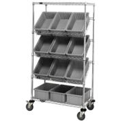 """Quantum MWRS-5-92080 Chrome Wire Truck With 12 8""""H Grid Containers Gray, 36""""L x 18""""W x 63""""H"""