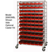 "Chrome Wire Shelving with 91 4""H Plastic Shelf Bins Red, 48x14x74"