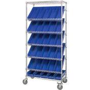 "Global Industrial™ Easy Access Slant Shelf Chrome Wire Cart, 30 4""H Shelf Bins BL, 36Lx18Wx74H"