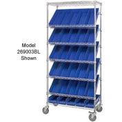 "Global Industrial™ Easy Access Slant Shelf Chrome Wire Cart, 24 4""H Shelf Bins BL, 36Lx18Wx74H"