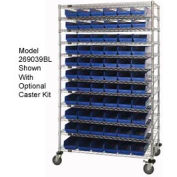 "Chrome Wire Shelving with 66 4""H Plastic Shelf Bins Blue, 48x14x74"