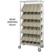 "Global Industrial™ Easy Access Slant Shelf Chrome Wire Cart 24 4""H Shelf Bins Ivory 36Lx18Wx74H"