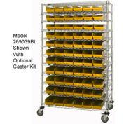 "Chrome Wire Shelving with 110 4""H Plastic Shelf Bins Yellow, 48x18x74"