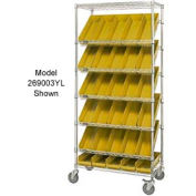 "Global Industrial™ Easy Access Slant Shelf Chrome Wire Cart, 18 4 Shelf Bins Yellow, 36""Lx18x74"