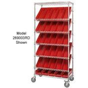 "Global Industrial™ Easy Access Slant Shelf Chrome Wire Cart, 18 4""H Shelf Bins Red, 36Lx18Wx74H"