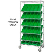 "Global Industrial™ Easy Access Slant Shelf Chrome Wire Cart 18 4""H Shelf Bins Green 36Lx18Wx74H"