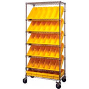 "Quantum MWRS-7-602 Chrome Wire Truck With 36 4-5/8""H Plastic Drawers Yellow, 36""L x 18""W x 74""H"