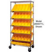 "Quantum MWRS-7-606 Chrome Wire Truck With 24 4-5/8""H Plastic Drawers Yellow, 36""L x 18""W x 74""H"