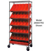 "Quantum MWRS-7-606 Chrome Wire Truck With 24 4-5/8""H Plastic Drawers Red, 36""L x 18""W x 74""H"