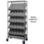 "Quantum MWRS-7-606 Chrome Wire Truck With 24 4-5/8""H Plastic Drawers Gray, 36""L x 18""W x 74""H"