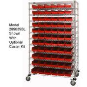 "Chrome Wire Shelving with 66 4""H Plastic Shelf Bins Red, 48x18x74"