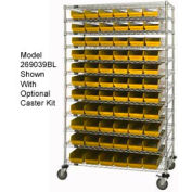 "Chrome Wire Shelving with 88 4""H Plastic Shelf Bins Yellow, 60x14x74"