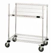 """Easy Access Slant Shelf Chrome Wire Cart 36""""L x 24""""W x 40""""H"""