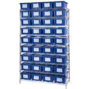 """Chrome Wire Shelving With 36 6""""H Nest & Stack Shipping Totes Blue, 48x18x74"""