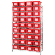 """Chrome Wire Shelving With 36 6""""H Nest & Stack Shipping Totes Red, 48x18x74"""