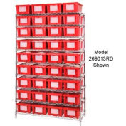 "Chrome Wire Shelving With 24 9""H Nest & Stack Shipping Totes Red, 48x18x74"