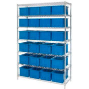 "Chrome Wire Shelving With 24 8""H Grid Container Blue, 48x18x74"