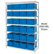 """Chrome Wire Shelving With 36 3""""H Grid Container Blue, 60x24x63"""