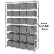 """Chrome Wire Shelving With 36 3""""H Grid Container Gray, 60x24x63"""