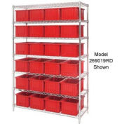 """Chrome Wire Shelving With 24 6""""H Grid Container Red, 60x24x74"""