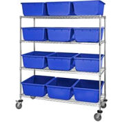 "Quantum MWR4-2419-9 Mobile Chrome Wire Truck With 12 9-1/2""H Nesting Totes Blue, 60""L x 24""W x 69""H"