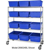 "Quantum MWR7-1711-8 Mobile Chrome Wire Truck With 24 8"" Cross Stack Nest LugTotes Blue, 36""x18""x69"""