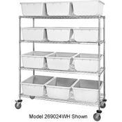 "Quantum MWR7-1711-8 Mobile Chrome Wire Truck With 24 8"" Cross Stack Nest Lug Totes White 36""x18""x69"""