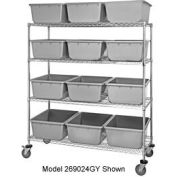 Quantum MWR5-1711-12 Mobile Chrome Wire Truck With 15 12 Cross Stack Nest Lug Totes Gray 36x18x69